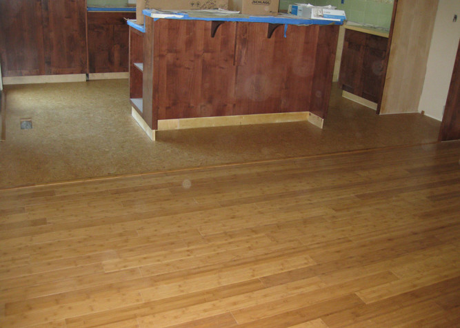 ... Pre Finished Bamboo In Living Area With Cork Flooring In Kitchen As A Floating  Floor ...