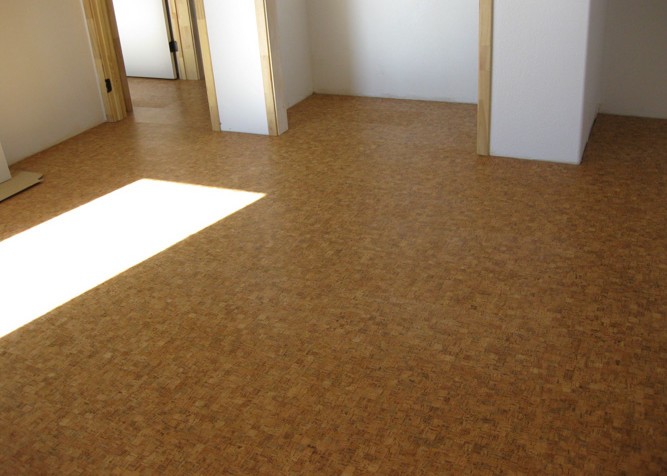 Pre-finished Cork flooring as a floating floor installation over radiant heat flooring