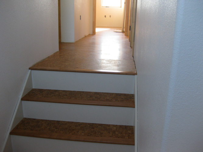 Attirant Pre Finished Cork Flooring On Stairs With Painted Risers