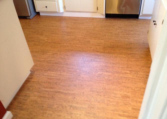 Pre-finished Cork flooring as a floating floor installation_