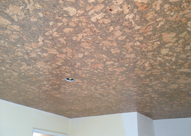 Pre-finished cork tile install on ceiling in office