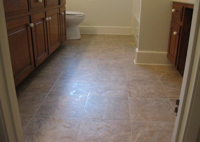 inyl Sheet Flooring with new baseboards