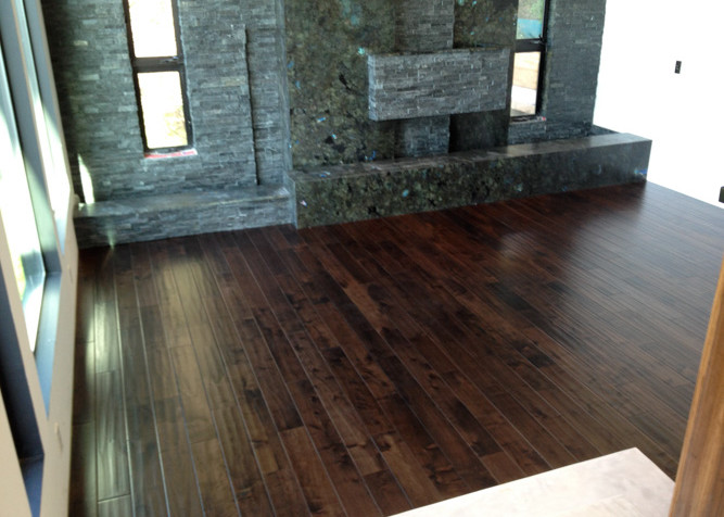 """Pre-finished engineered black walnut wood flooring, 5"""" width as a floating floor install over radiant heat"""