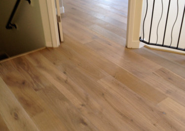 Kahrs wire brushed-oil pre-finished engineered wood flooring installed as a floating floor installation