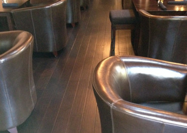 re-finished T&G engineered wood flooring installed as a nail down installation in dining area (Bittersweet Bistro)